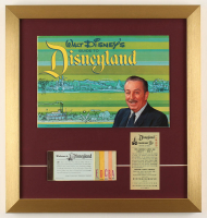 "Walt Disney's ""Disneyland"" 17x18 Custom Framed 1964 Original Guide Display with Vintage Ticket Booklet & Parking Pass at PristineAuction.com"