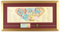Disneyland 15x28.5 Custom Framed 1959 Original Map Display with Vintage Ticket Booklet & Disneyland Pin at PristineAuction.com