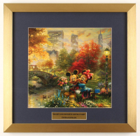 "Thomas Kinkade Walt Disney's ""Mickey & Minnie in Central Park"" 17.5x18 Custom Framed Print Display at PristineAuction.com"