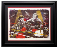 "Noel Rockmore Signed Muhammad Ali vs Leon Spinks LE ""The Fight"" 26x34 Custom Framed Lithograph Display at PristineAuction.com"