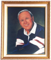 Arnold Palmer Signed 20x24 Custom Framed Portrait Painting Display (Beckett LOA) at PristineAuction.com