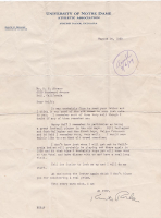 Knute Rockne Signed 1929 Letter on Notre Dame Fighting Irish Letterhead (PSA LOA - Autograph Graded 9) at PristineAuction.com
