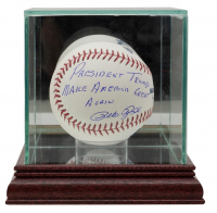 "Pete Rose Signed OML Baseball Inscribed ""President Trump Make America Great Again"" with High-Quality Display Case (JSA COA) at PristineAuction.com"