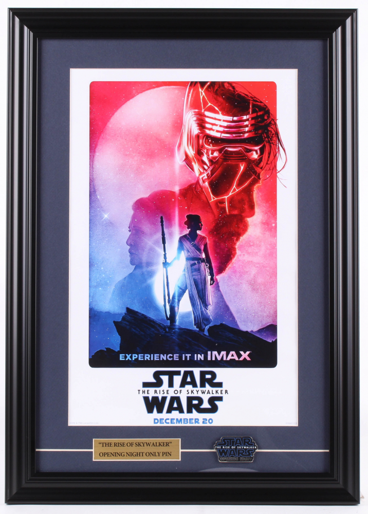 """Star Wars Episode IX: The Rise of Skywalker"" 16x22.5 Custom Framed Movie Poster Display with Exclusive Opening Night Pin at PristineAuction.com"
