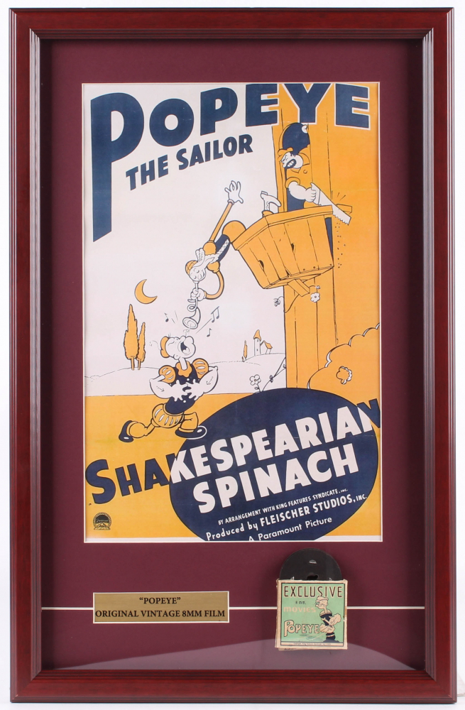 """Popeye the Sailor """"Shakespearean Spinach"""" 15.5x24 Custom Framed Poster Display With 1940's 8mm Film including Original Box at PristineAuction.com"""