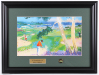 "Leroy Neiman ""Spyglass Hill 1991""15.5x20.5 Custom Framed Print Display With Vintage Spyglass Hill Pin at PristineAuction.com"