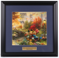 "Thomas Kinkade ""Mickey And Minnie Mouse In Central Park"" 18x18.5 Custom Framed Print Display at PristineAuction.com"