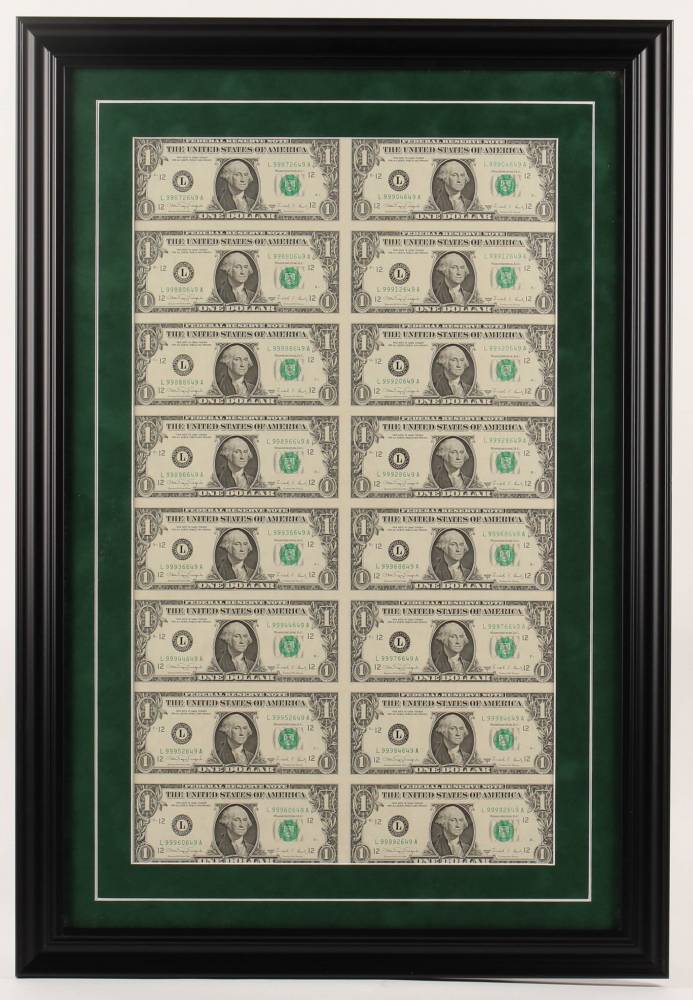 Uncut Sheet of (16) 1988 $1 Dollar Green Seal U.S. Federal Reserve Note Bills 18.5x27 Custom Framed Display at PristineAuction.com