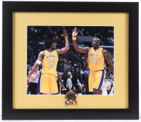Kobe Bryant & Shaquille O'Neal Lakers 13x15 Custom Framed Photo Display with NBA Champions Pin at PristineAuction.com