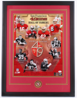 49ers Hall of Famers 22.5x29.5 Custom Framed Photo Display Signed by (10) with Joe Montana, Jerry Rice, Steve Young (JSA COA, Montana Hologram & Rice Hologram) at PristineAuction.com