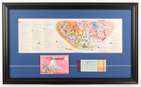 1964 Disneyland Map 17.5x29 Custom Framed Display With Postcard Packet & Ticket Book at PristineAuction.com