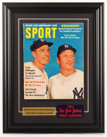 1961 Sport 14.5x18.5 Custom Framed Magazine Display With Mickey Mantle & Joe DiMaggio with 1951 Yankees World Champions Cloth at PristineAuction.com
