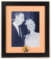 Marilyn Monroe & Joe DiMaggio 13x15 Custom Framed Photo Display with 1960s Pin at PristineAuction.com