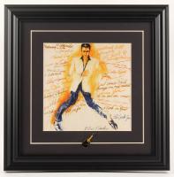 "LeRoy Neiman ""Elvis Presley"" 14x14 Custom Framed Photo Display with Vintage 1960's Elvis Guitar Pin at PristineAuction.com"