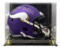"""Cris Carter Signed Vikings Full-Size Speed Helmet Inscribed """"All I Do Is Catch TD's"""" with High-Quality Display Case (PSA COA) at PristineAuction.com"""
