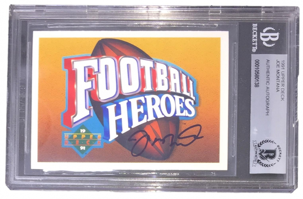Joe Montana Signed 1991 Upper Deck Heroes #NNO (BGS Encapsulated) at PristineAuction.com