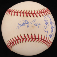 Braves 1995 World Series Logo Baseball Signed by (6) with Tom Glavine, Chipper Jones, Bobby Cox (MAB Hologram) at PristineAuction.com