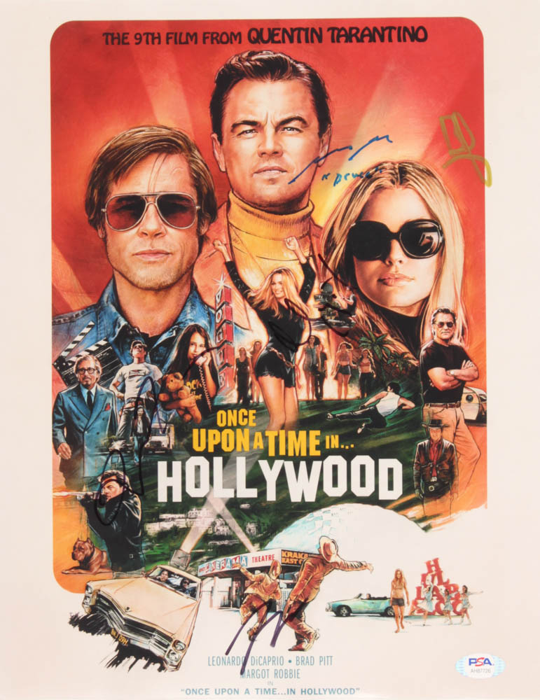 """""""Once Upon a Time in Hollywood"""" 11x14 Photo Signed by (5) with Brad Pitt, Leonardo DiCaprio, Quentin Tarantino, Margot Robbie & Mike Moh Inscribed """"Bruce"""" (PSA Hologram) at PristineAuction.com"""