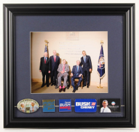 U.S. President Original Campaign Pins 15.5x16.5 Custom Framed Photo Display with Jimmy Carter, Barrack Obama, Bill Clinton, George H.W. Bush, & George W. Bush at PristineAuction.com