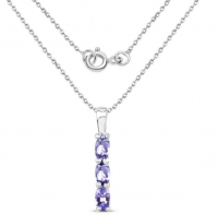 Tanzanite .925 Sterling Silver Necklace at PristineAuction.com