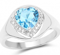 Blue & White Topaz Heart Shape .925 Sterling Silver Ring at PristineAuction.com
