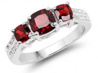 Garnet & White Topaz .925 Sterling Silver Ring at PristineAuction.com