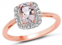 Morganite & White Topaz .925 Sterling Silver Ring at PristineAuction.com