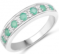 Emerald & White Topaz .925 Sterling Silver Ring at PristineAuction.com
