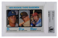 Mike Schmidt Signed 1973 Topps #615 Rookie Third Basemen/Ron Cey/John Hilton RC/Mike Schmidt RC (BGS Encapsulated) at PristineAuction.com