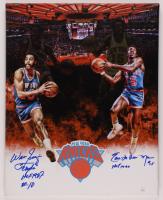"Walt ""Clyde"" Frazier & Earl ""The Pearl"" Monroe Signed Knicks 16x20 Print On Canvas Inscribed ""HOF 1987"" & ""HOF 1990"" (JSA COA) at PristineAuction.com"