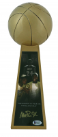 """Magic Johnson Signed Lakers 14"""" Championship Basketball Trophy (Beckett COA) at PristineAuction.com"""