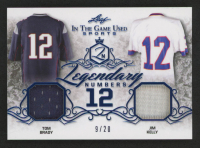 2019 ITG Used Sports Legendary Numbers Dual Memorabilia Navy Blue #LN12 Tom Brady / Jim Kelly at PristineAuction.com