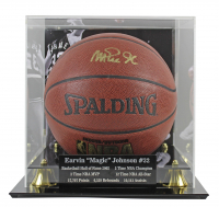 Magic Johnson Signed NBA Game Ball Series Basketball with High-Quality Photo Display Case (Beckett COA) at PristineAuction.com