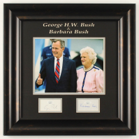 George H. W. Bush & Barbara Bush Signed 18x18 Custom Framed Cut Display (JSA COA) at PristineAuction.com