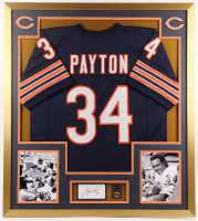 Walter Payton Signed Bears 32x36 Custom Framed Cut Display with Super Bowl Pin (PSA) at PristineAuction.com