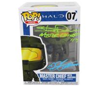 "Steve Downes & Jen Taylor Signed ""Halo"" #7 Master Chief Funko Pop! Vinyl Figure Inscribed ""Master Chief 117"" & ""Cortana"" (Radtke COA) at PristineAuction.com"