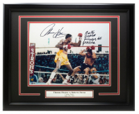 "Thomas Hearns & Roberto Duran Signed 16x20 Custom Framed Photo Inscribed ""Manos de Piedra"" (Beckett COA) at PristineAuction.com"