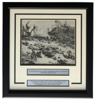 """Marines On Peleliu Island"" 17x18 Custom Framed World War II Photo Display at PristineAuction.com"