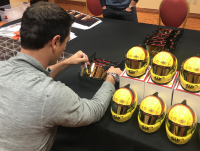 Joey Logano Signed Race-Used NASCAR Home Depot Authentic Full-Size Pit Crew Helmet (PA COA) at PristineAuction.com