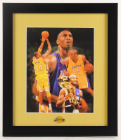 Kobe Bryant Lakers 13x15 Custom Framed Print Display with Lakers Pin at PristineAuction.com