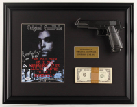 "Henry Hill Signed ""Goodfellas"" 17.5x22.5 Custom Framed Photo Display Inscribed ""Goodfella"" with Replica Gun & Stack of Prop Money (PSA COA) at PristineAuction.com"
