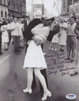 """George Mendonsa Signed """"VJ Day"""" 8x10 Photo with Multiple Inscriptions (PSA COA) at PristineAuction.com"""