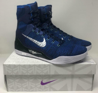 Kobe Bryant Signed Pair of (2) Nike Kobe IX Elite Metallic Blue Basketball Shoes (Panini COA) at PristineAuction.com