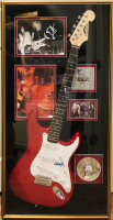 """Guns & Roses"" 21x41 Electric Guitar Display Signed by (7) with Axl Rose, Dizzy Reed, Steven Adler, Slash, Matt Sorum, Izzy Stradlin & Duff Mckagan (JSA LOA & JSA COA) at PristineAuction.com"