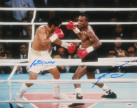 Sugar Ray Leonard & Roberto Duran Signed 16x20 Photo (PSA Hologram) at PristineAuction.com