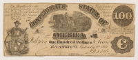 1861 $100 One Hundred-Dollar Confederate States of America Richmond CSA Bank Note at PristineAuction.com