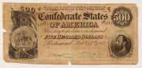 1864 $500 Five Hundred-Dollar Confederate States of America Richmond CSA Bank Note at PristineAuction.com