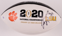 Joe Burrow & Coach Ed Orgeron Signed LSU Tigers 2020 National Championship Logo Football (PSA COA) at PristineAuction.com