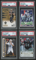 Lot of (4) PSA Graded Football Cards with 2016 Panini Contenders #46 Drew Brees (PSA 9), 2017 Leaf Draft TD Machines #TD13 Mitch Trubisky (PSA 8), 1990 Score Supplemental #101T Emmitt Smith (PSA 9) at PristineAuction.com