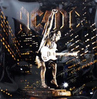 """AC/DC 30x40 Poster Band-Signed by (5) with Brian Johnson, Malcolm Young, Angus Young, Cliff Williams & Phil Rudd Inscribed """"ACDC"""" (Beckett LOA)Phil Rudd at PristineAuction.com"""